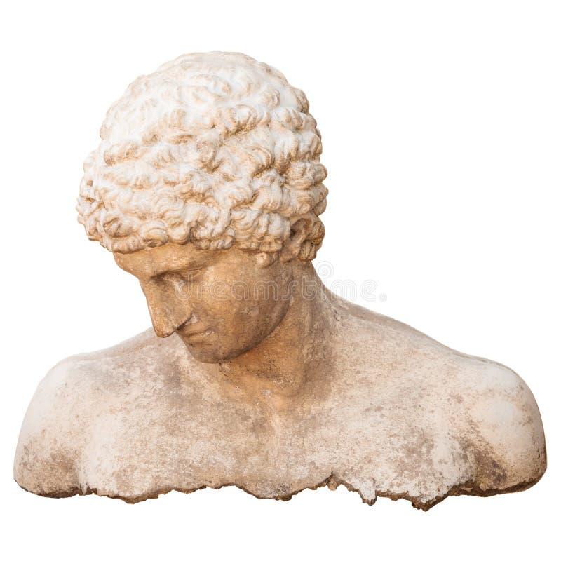 Torso antigo do atleta de um homem isolado no branco fotografia de stock royalty free