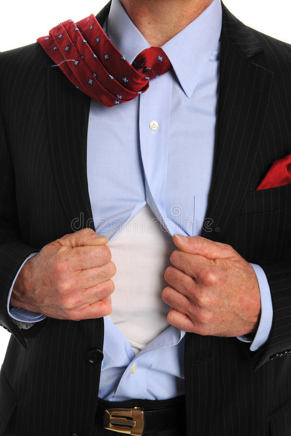 Torso of Businessman Opening Shirt royalty free stock images