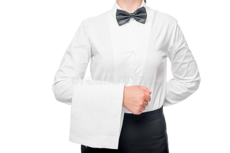 Torso da empregada de mesa em uma camisa branca com uma toalha em sua mão fotografia de stock