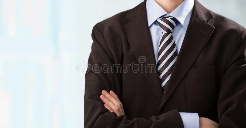 Torso dell'uomo sicuro di affari che indossa vestito elegante fotografia stock