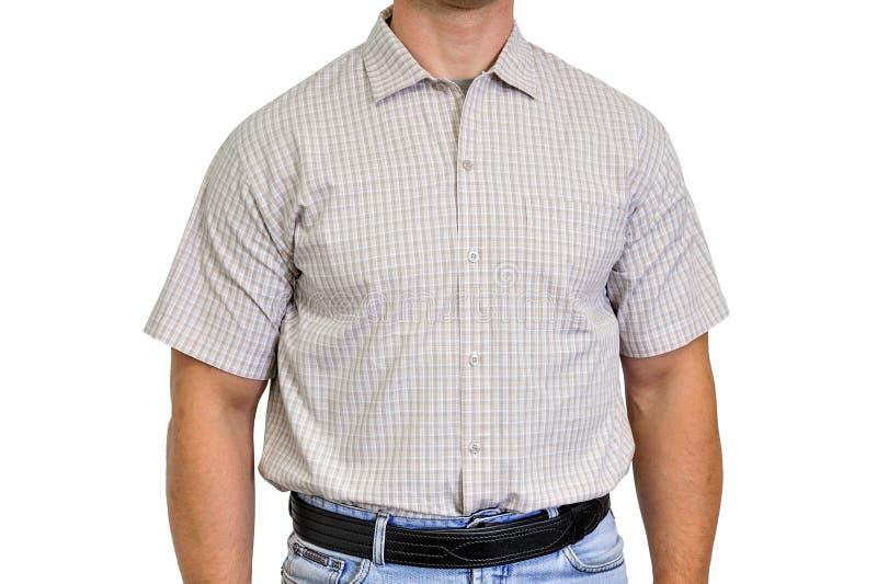 Torso eines Mannes kleidete in der Zivilkleidung, unter das Hemd an stockfotos
