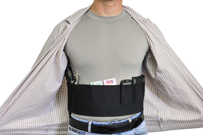 Torso of a man dressed in civilian clothes, underneath the shirt stock photo