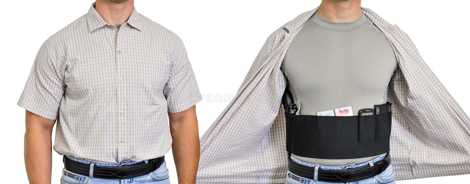 Torso of a man dressed in civilian clothes, underneath the shirt stock image
