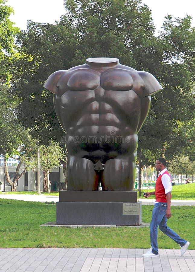Torso masculino por Gary Nadal, parque de Bayfront, Miami fotos de stock royalty free
