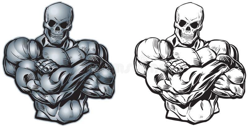 Torso muscular de la historieta del vector con la cabeza del cráneo stock de ilustración