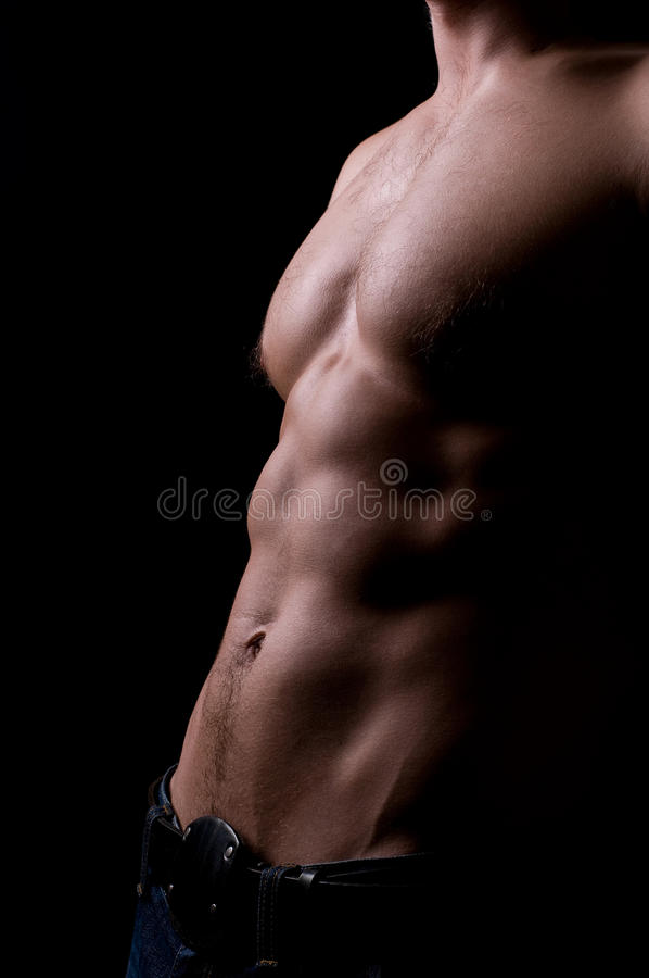 Torso of strong athletic man stock image