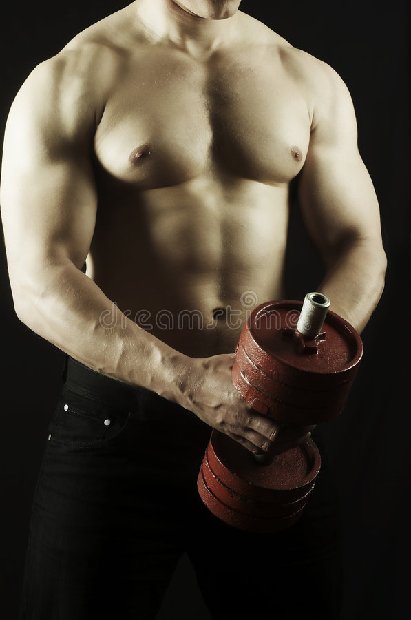 Torso strong men. The young man of an athletic constitution plays sports royalty free stock images