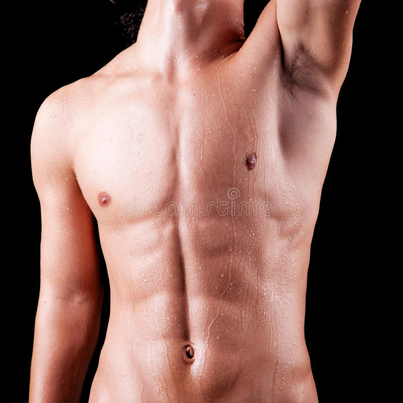 Torso Of A Sweat Man In Topless Royalty Free Stock Photos