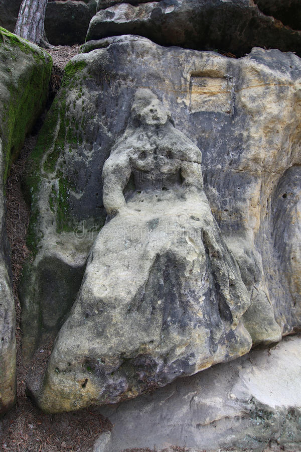 Torso van Harpist van rotsbeeldhouwwerken royalty-vrije stock fotografie