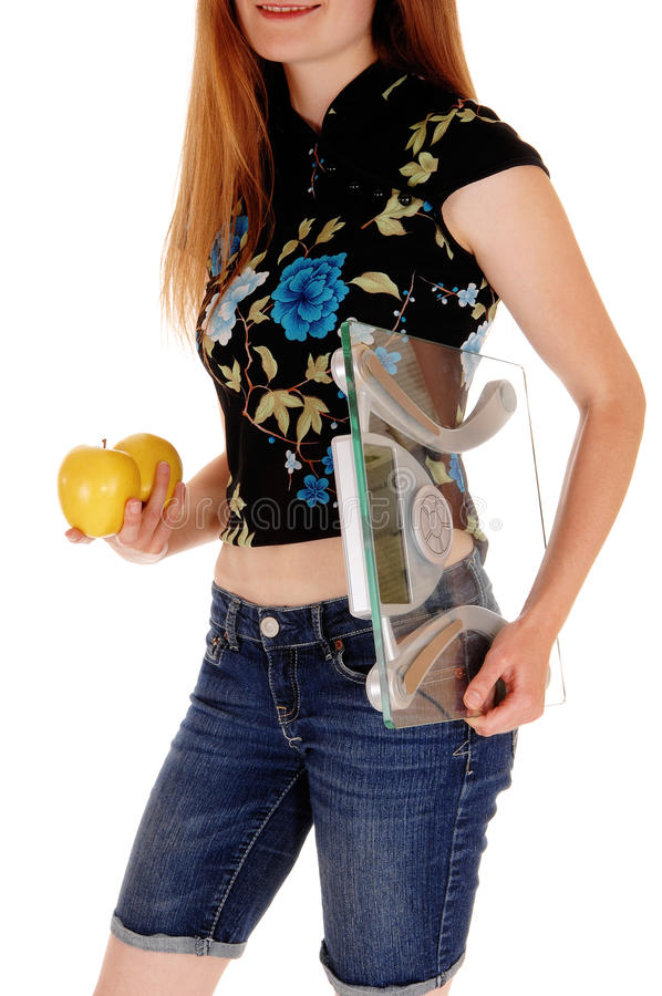 Torso van vrouw met appelen royalty-vrije stock foto