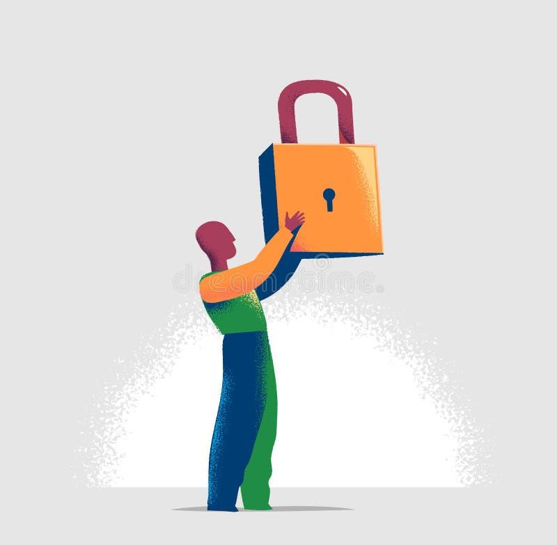 Torson av en chef låser ett faktiskt lås i en lineup av öppna hänglås Affärsmetafor och teknologibegrepp vektor illustrationer