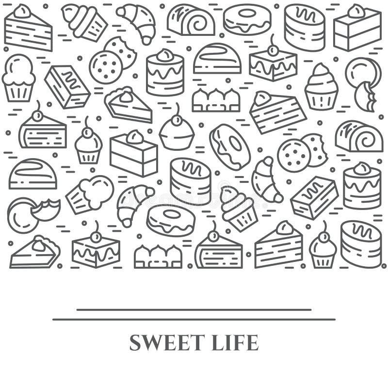 Tortów i ciastek tematu horyzontalny sztandar Piktogramy kulebiak, punkt, ciastko, tiramisu, rolka i inny deser, odnosić sie ilustracja wektor