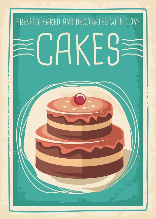 Tortów i cukierków retro plakatowy projekt royalty ilustracja