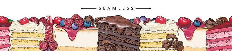 Tortów i kulebiaków granicy horyzontalny bezszwowy wzór w nakreśleniu projektuje royalty ilustracja
