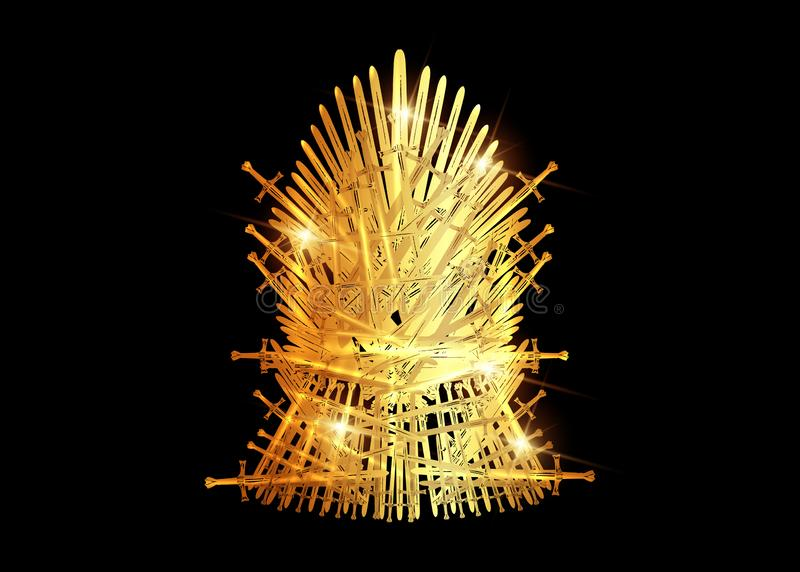 Hand drawn golden iron throne of Westeros made of antique swords or metal blades. Ceremonial chair built of weapon isolated. On black  background. Beautiful royalty free illustration