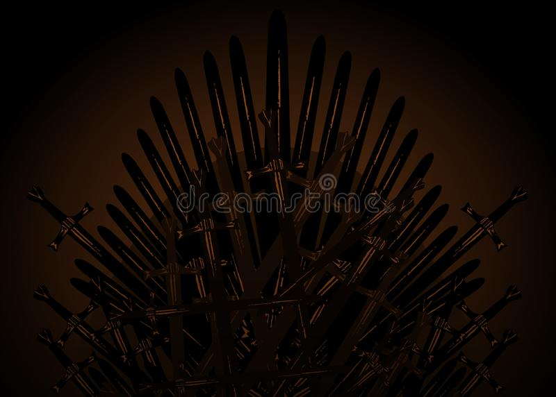 Hand drawn iron throne of the Middle Ages made of antique swords or metal blades. Ceremonial chair built of weapon dark brown vector illustration