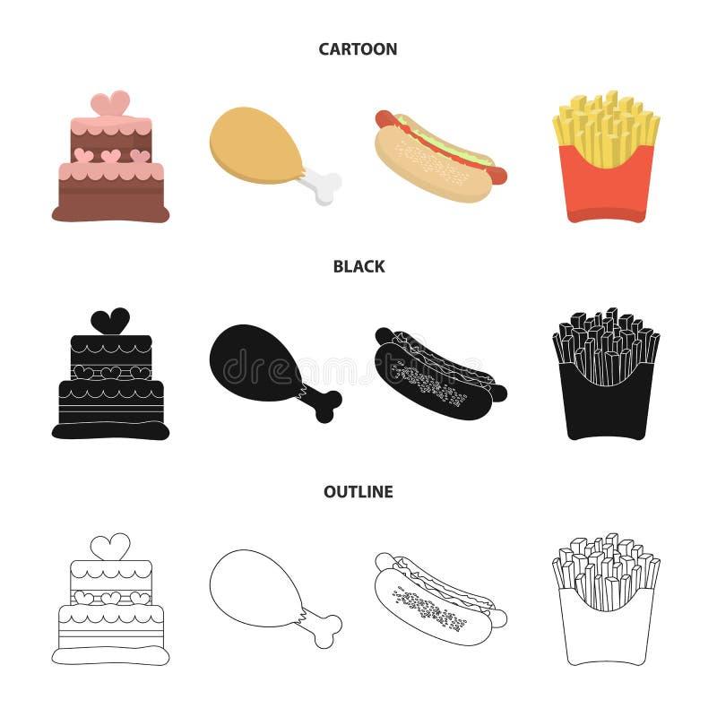 Tort, baleron, hot dog, francuz smaży Fast food ustalone inkasowe ikony w kreskówce, czerń, konturu symbolu stylowy wektorowy zap royalty ilustracja