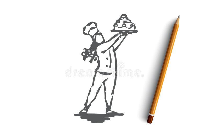 Tort, cukierniczka, kucharstwo, dziewczyna, słodki pojęcie Ręka rysujący odosobniony wektor ilustracji