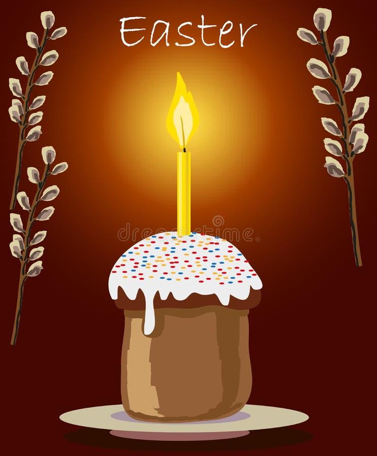 Tort i świeczka przy wielkanocą royalty ilustracja