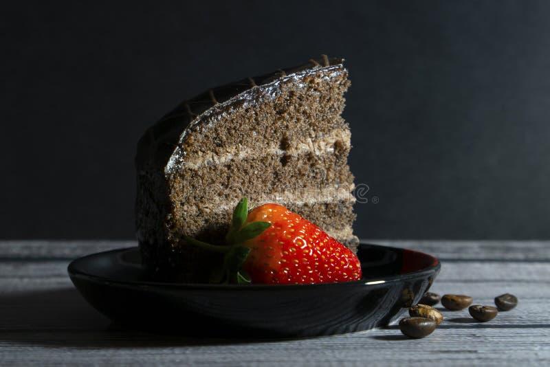 Tort i truskawka obraz stock