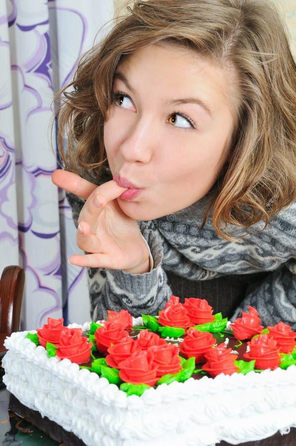 tort je dziewczyny ładnej obraz royalty free