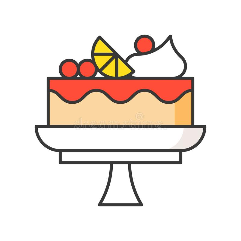 Tort na torta stojaku cukierki i ciasto set, wypełniał kontur ikonę ilustracji