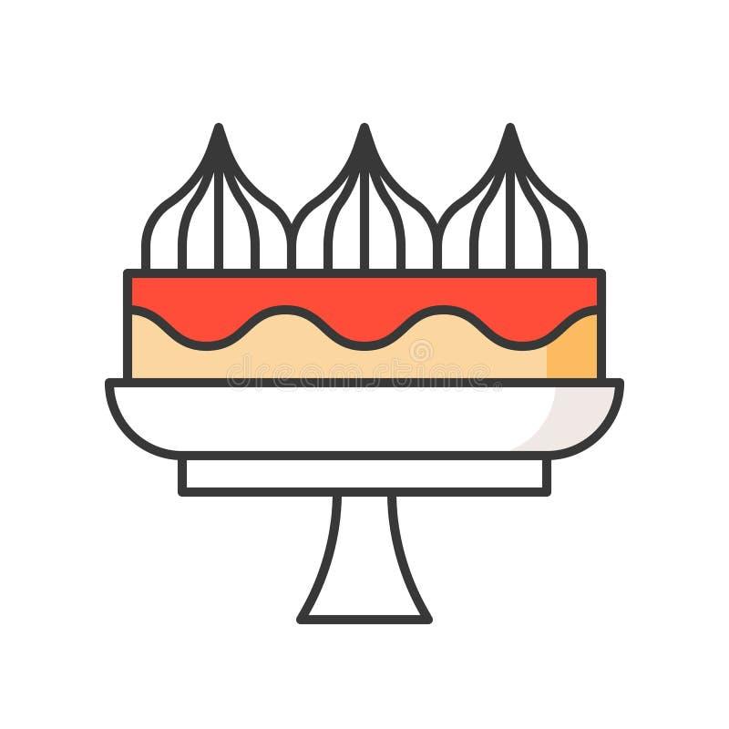 Tort na torta stojaku cukierki i ciasto set, wypełniał kontur ikonę ilustracja wektor