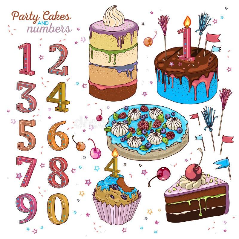 Tort ustawiający z świeczkami ilustracja wektor