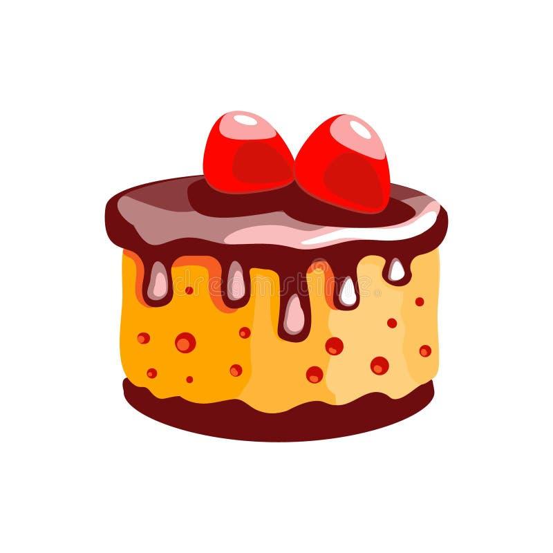 Tort z cytryn truskawkami i śmietanką Deser Odosobniony przedmiot Ikona jedzenie na białym tle royalty ilustracja