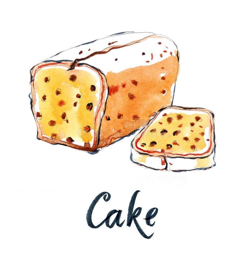 Tort z rodzynkami ilustracja wektor
