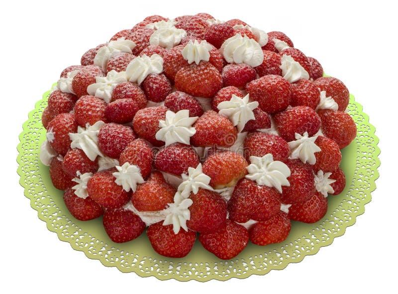 Tort zakrywający z truskawką fotografia royalty free