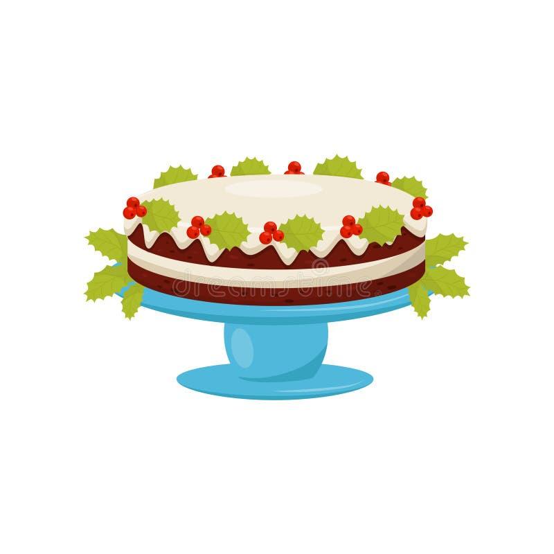 Torta acodada deliciosa con el esmalte de la vainilla y bayas rojas con las hojas verdes Postre tradicional de la Navidad Vector  ilustración del vector