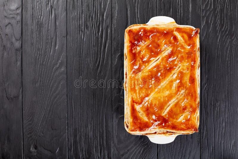 Torta australiana saporita del fungo e del manzo immagine stock