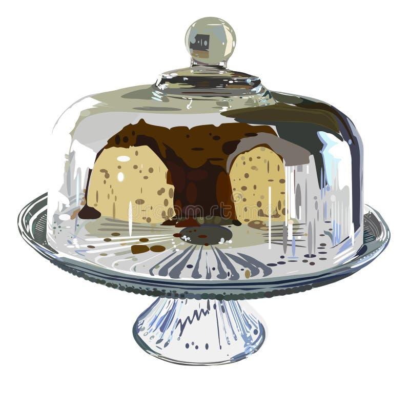 Torta bajo el vidrio stock de ilustración