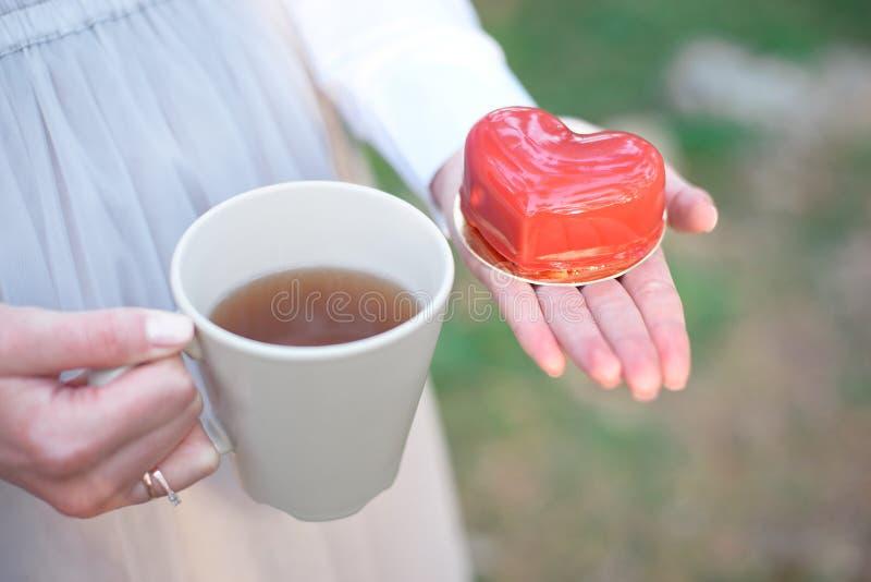 Torta bajo la forma de día del ` s de la tarjeta del día de San Valentín del corazón imagenes de archivo