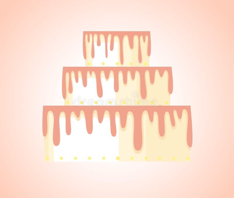 Torta blanca alta simplificada con las extensiones poner crema libre illustration