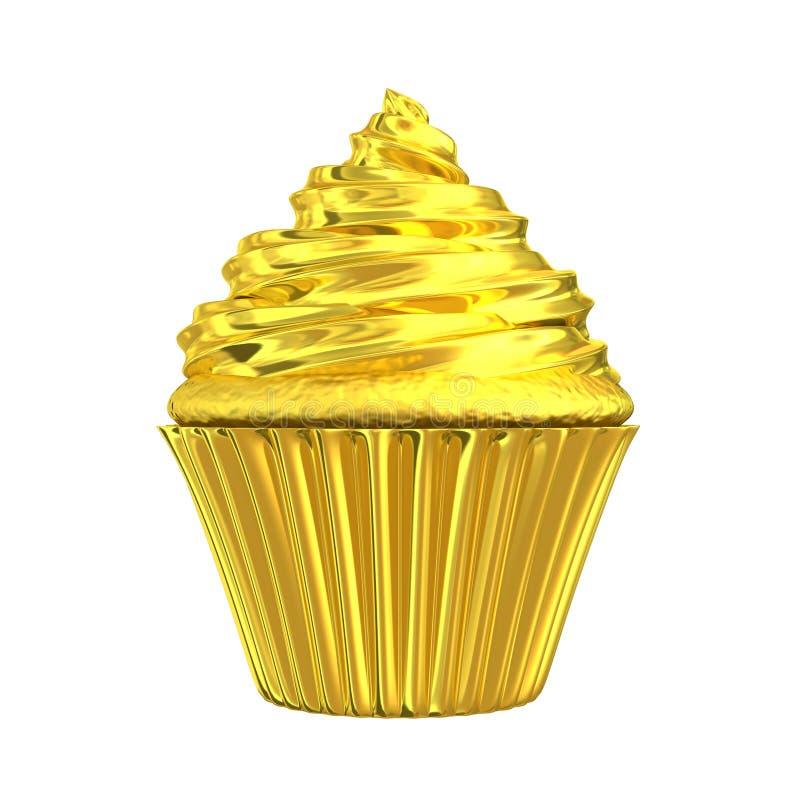 Torta brillante del oro de la magdalena de oro ilustración del vector