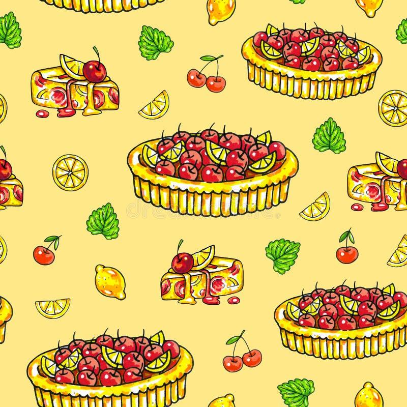 torta Casa-feita sobre um limão e uma cereja em um fundo amarelo Teste padrão sem emenda para o projeto Ilustrações da animação H ilustração do vetor