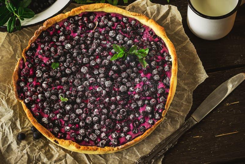 Torta caseiro com a uva-do-monte na tabela de madeira escura imagem de stock