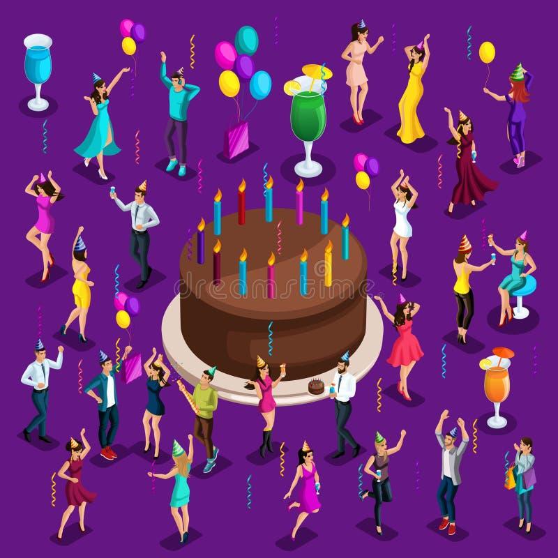 Torta celebradora grande de Isometry con las velas, gente de baile, feliz, bebidas, globos, guirnaldas, fuegos artificiales stock de ilustración