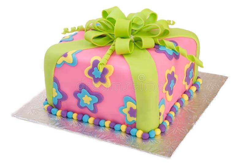 Torta colorata del pacchetto isolata su bianco immagine stock
