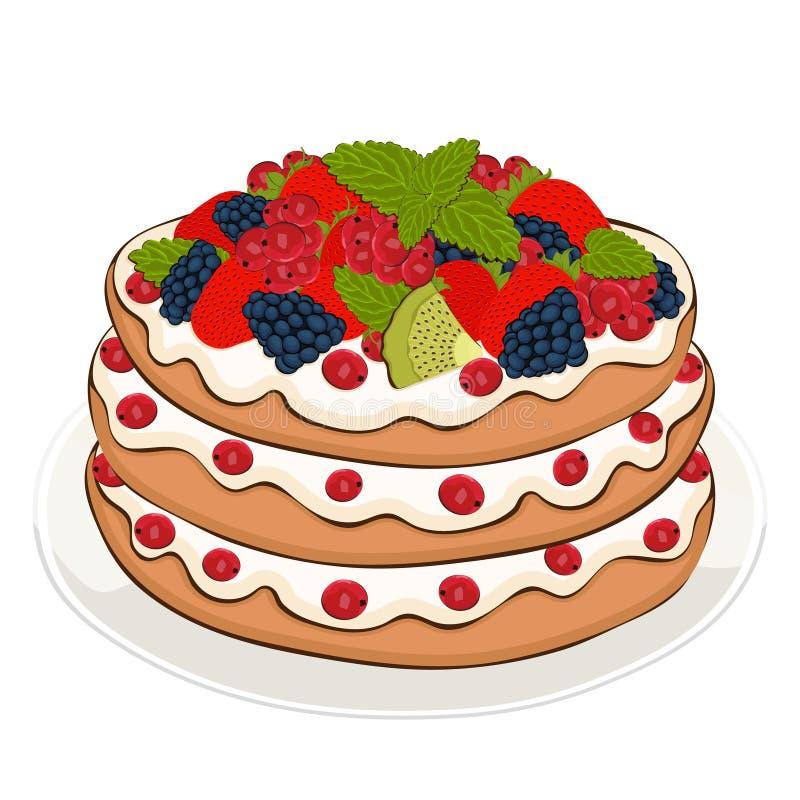 A torta com creme e bagas, desenho do vetor, pintou a sobremesa Bolo de camada com fruto da morango, da amora-preta, do corinto e ilustração do vetor
