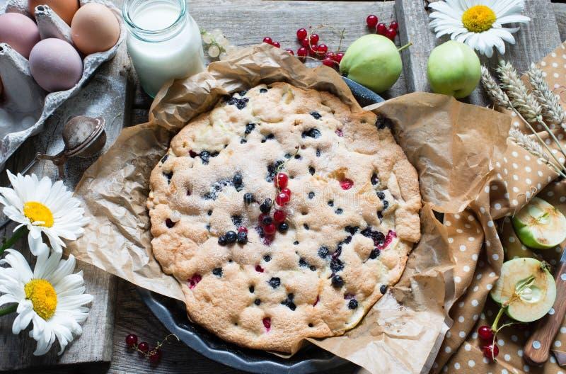 Torta com maçãs e bagas imagem de stock