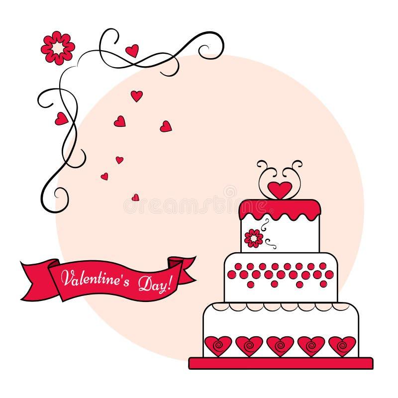 Torta con la cinta en fondo rosado redondo Tarjeta festiva roja, blanco y negro para el día de tarjeta del día de San Valentín Ve stock de ilustración