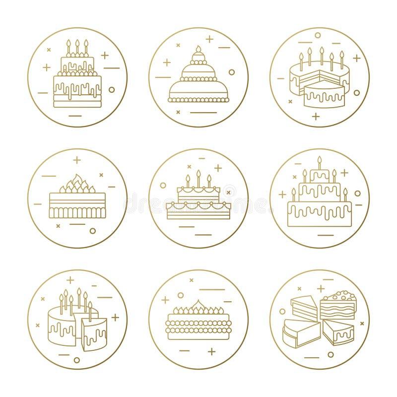 Torta con la línea sistema de los iconos del vector de la vela Ilustración dulce del postre Celebración del banquete de boda del  libre illustration
