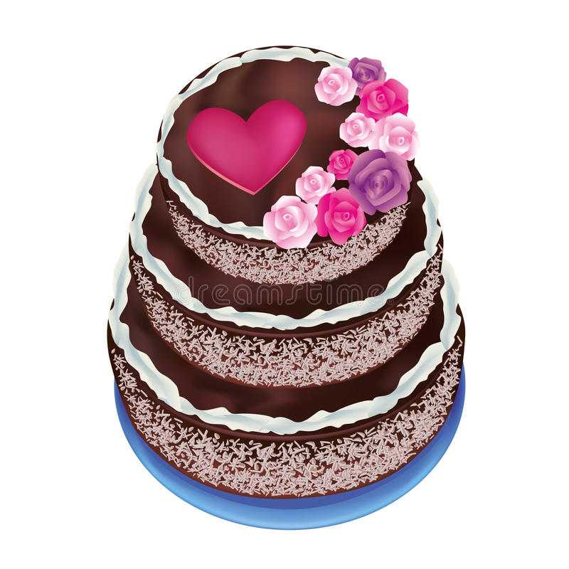 Torta con las rosas y el corazón stock de ilustración
