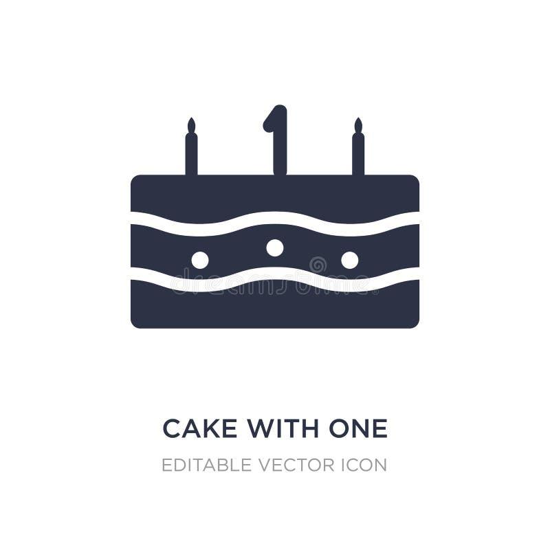 torta con un icono de la vela en el fondo blanco Ejemplo simple del elemento del concepto de la comida ilustración del vector