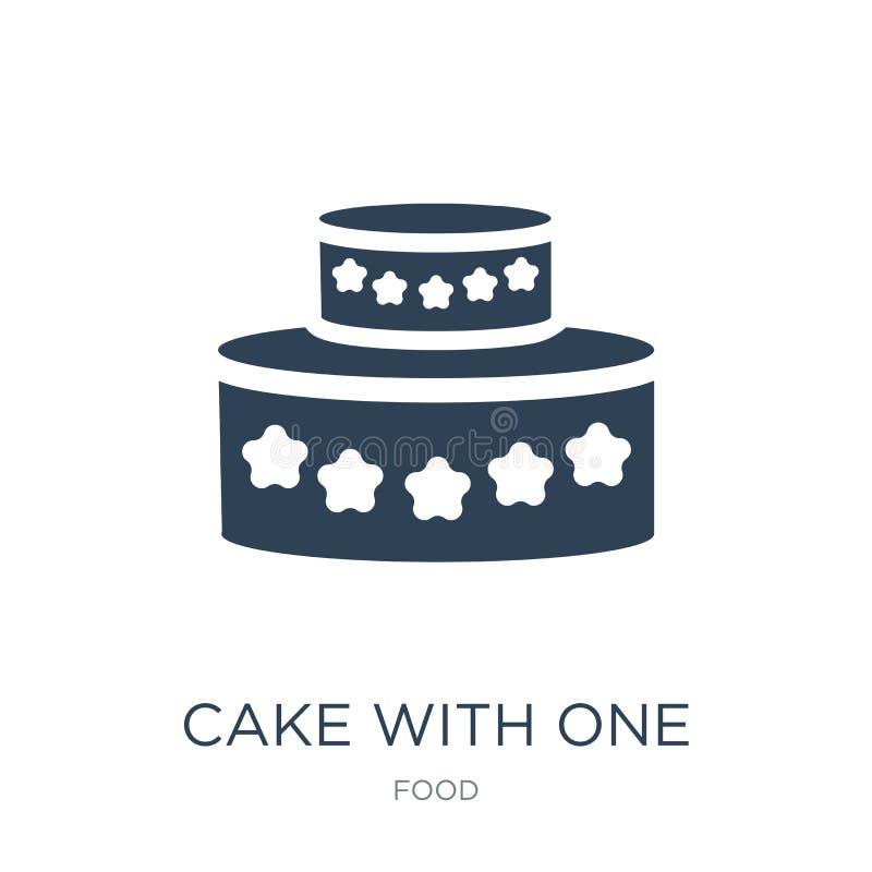 torta con un icono de la vela en estilo de moda del diseño torta con un icono de la vela aislado en el fondo blanco torta 3D con  ilustración del vector