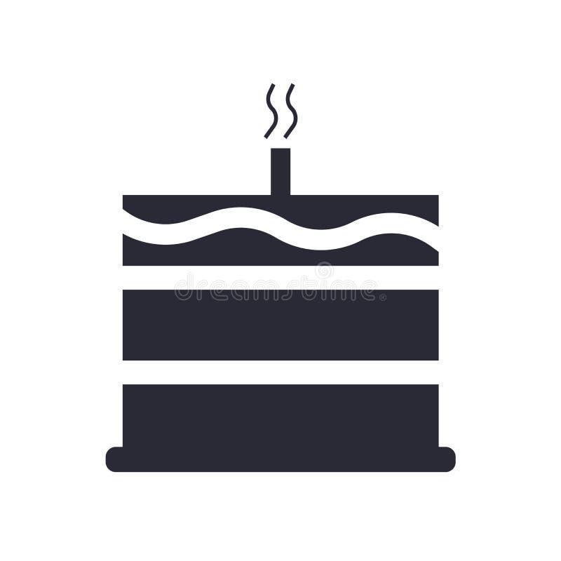 Torta con un muestra y símbolo del vector del icono de la vela aislada en el fondo blanco, torta con un concepto del logotipo de  ilustración del vector