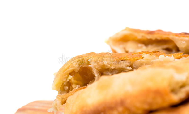 Torta cortada deliciosa do sopro com close up da couve foto de stock
